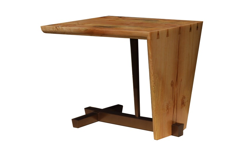 American studio craft artist David N. Ebner's handcrafted free edge end table/side table, crafted in elm burl, with hand-cut dovetails and bronzing powder lacquered base. Crafted to order one or more.