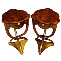 Pair of  French Art Deco Tripod Side Tables