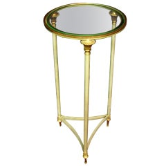 An Iron and Glass French Neoclassical Style Stand/Table