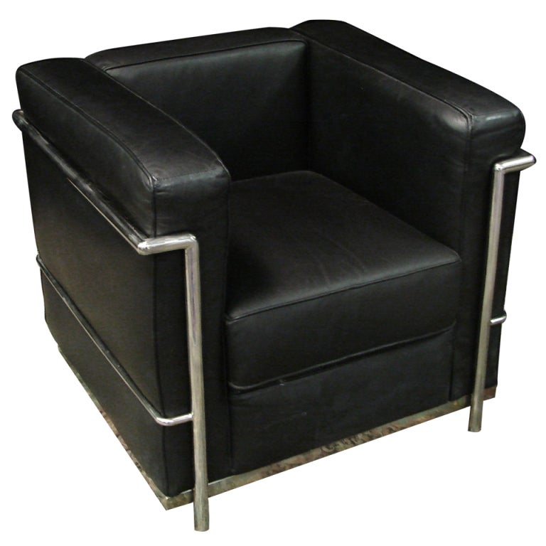 a leather and chrome club chair at 1stdibs