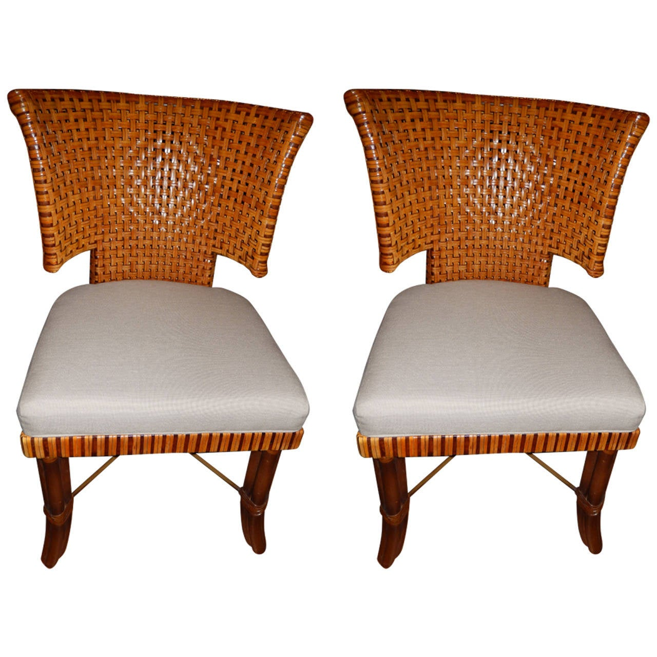 Pair of woven leather curved back dining room or side for Leather dining room chairs
