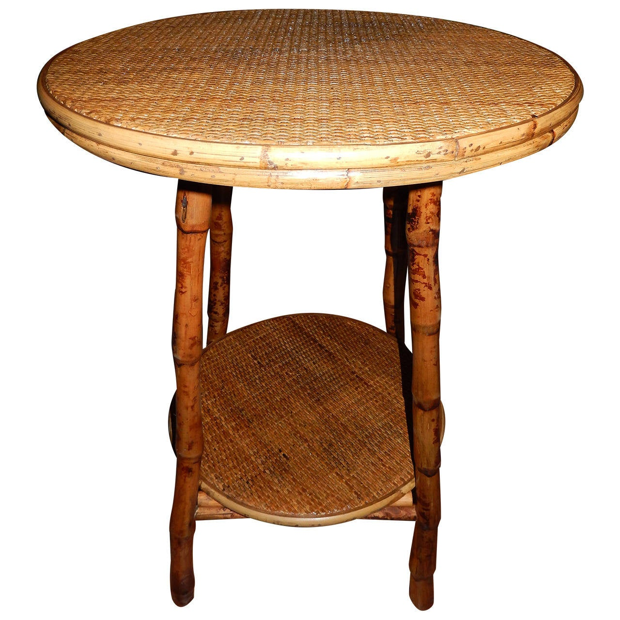 Pair of bamboo and cane side tables at 1stdibs for Bamboo side table