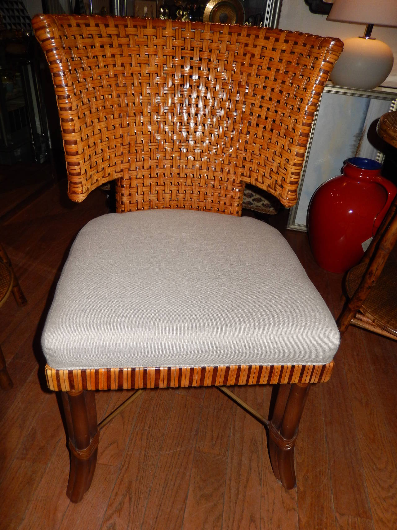 Pair of Woven Leather Curved Back Dining Room or Side Chairs at