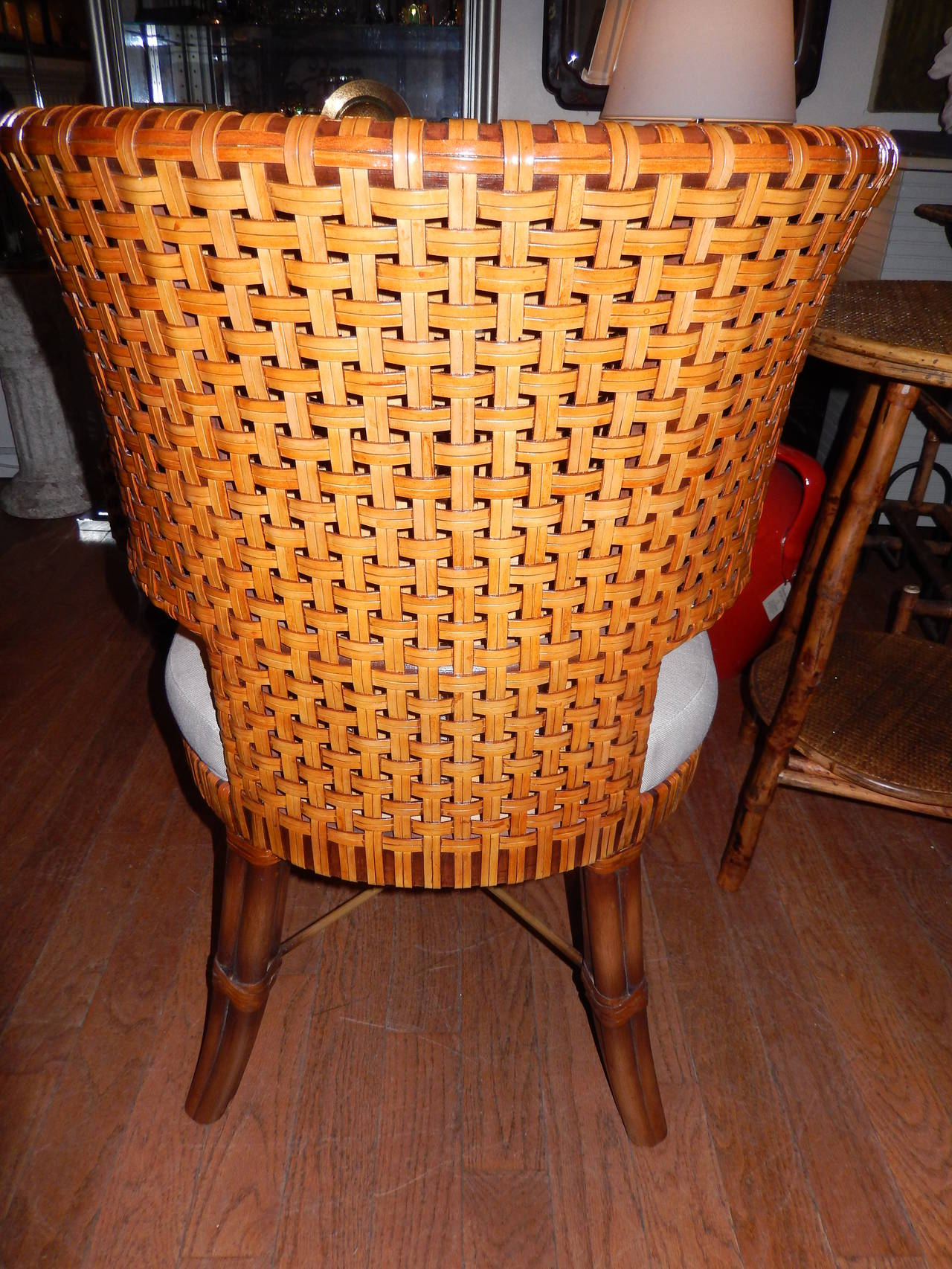 Picture of: Pair Of Woven Leather Curved Back Dining Room Or Side Chairs At 1stdibs