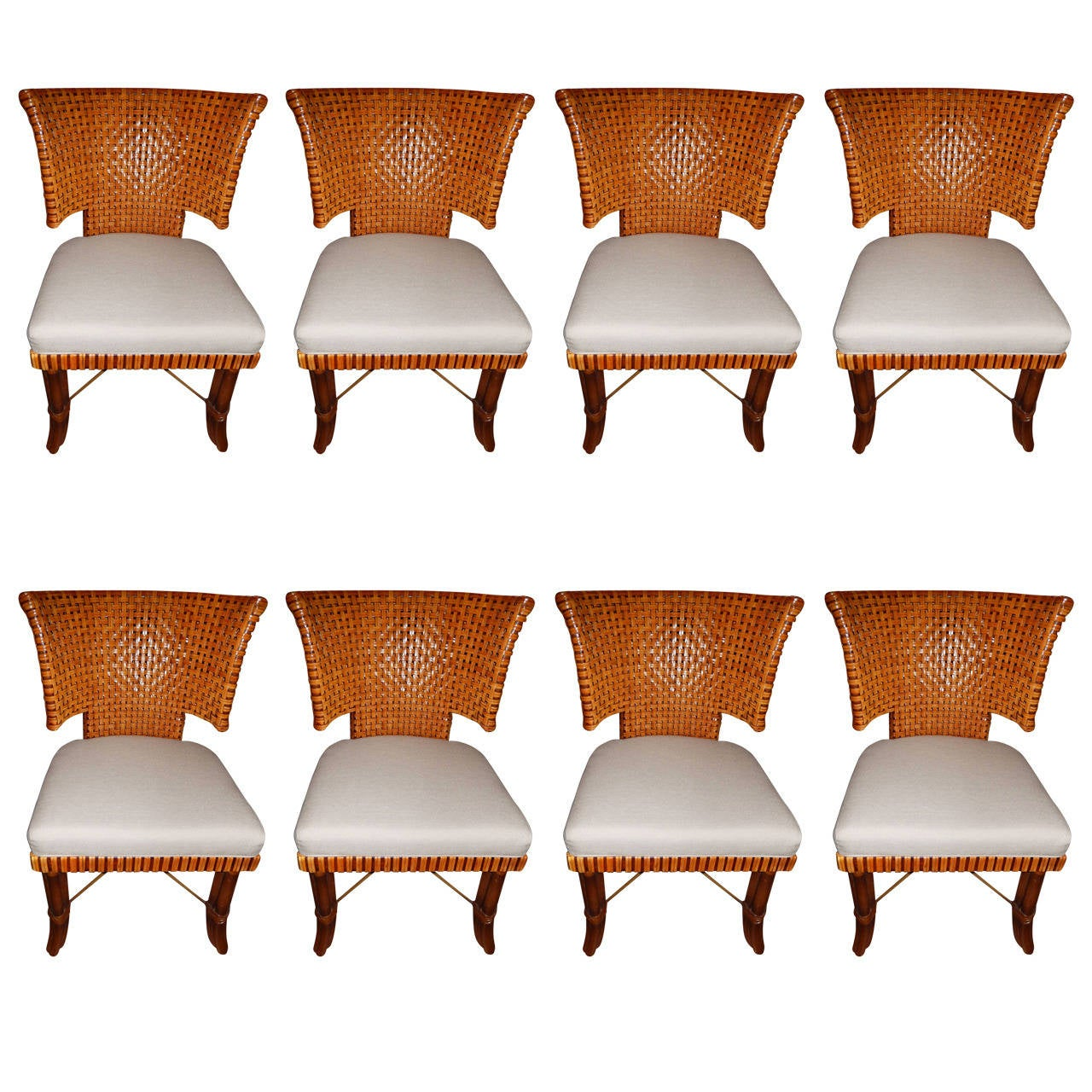 eight handwoven leather dining room chairs for sale at 1stdibs