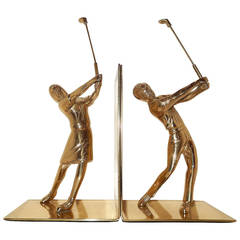 Pair of Art Deco Male and Female Golfers Bookends