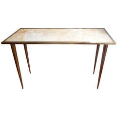 Simply Elegant Marble & Acid-Washed Brass Console Table