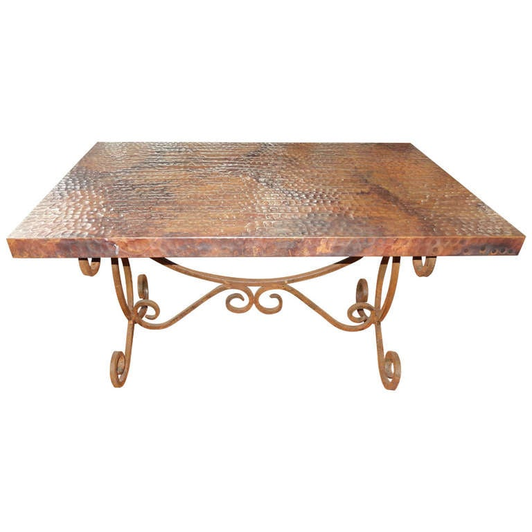 Hammered copper and iron coffee table at 1stdibs for Table y copper