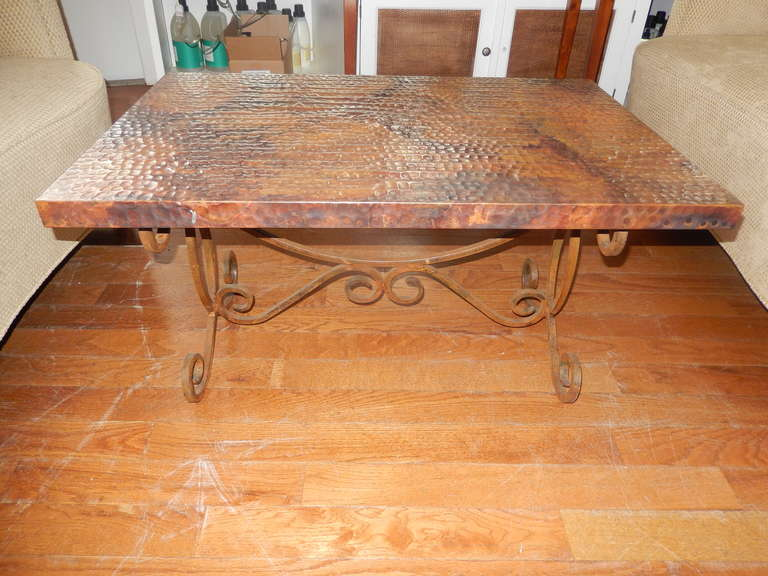 A Hand Crafted Iron And Copper Coffee Table The Is Hammered Has An
