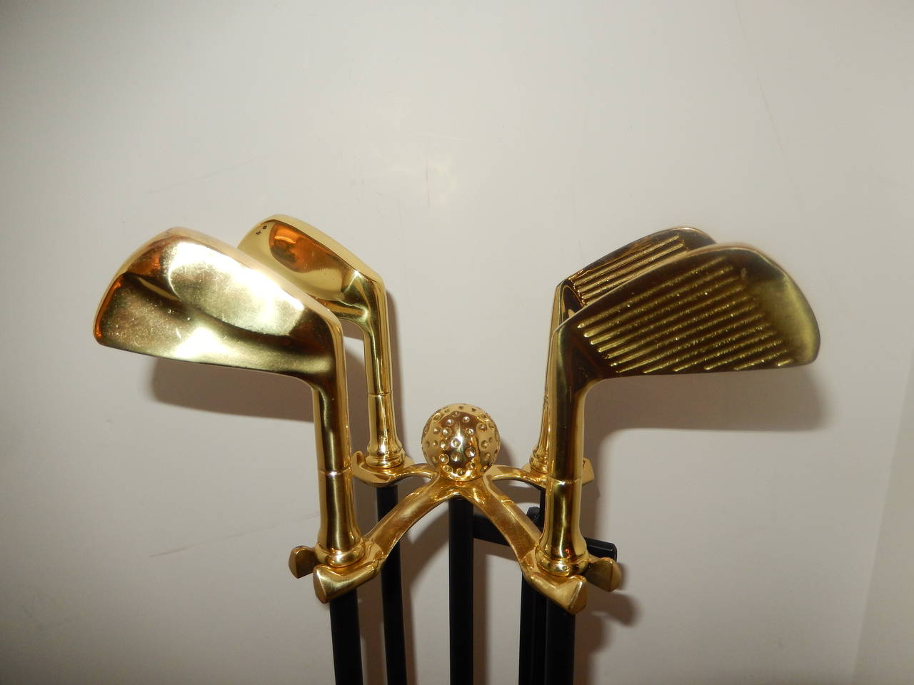 Greatest Set of Artisan Golf Club Themed Brass and Iron Fireplace Tools at  LH47