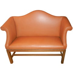 An English Chippendale Style Camel Back Settee or Bench
