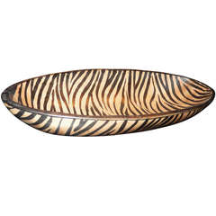 A Hand Crafted Zebra Print Wooden Bpwl