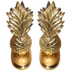 Pair of Sculptural Art Deco Pineapples, Brass Bookends