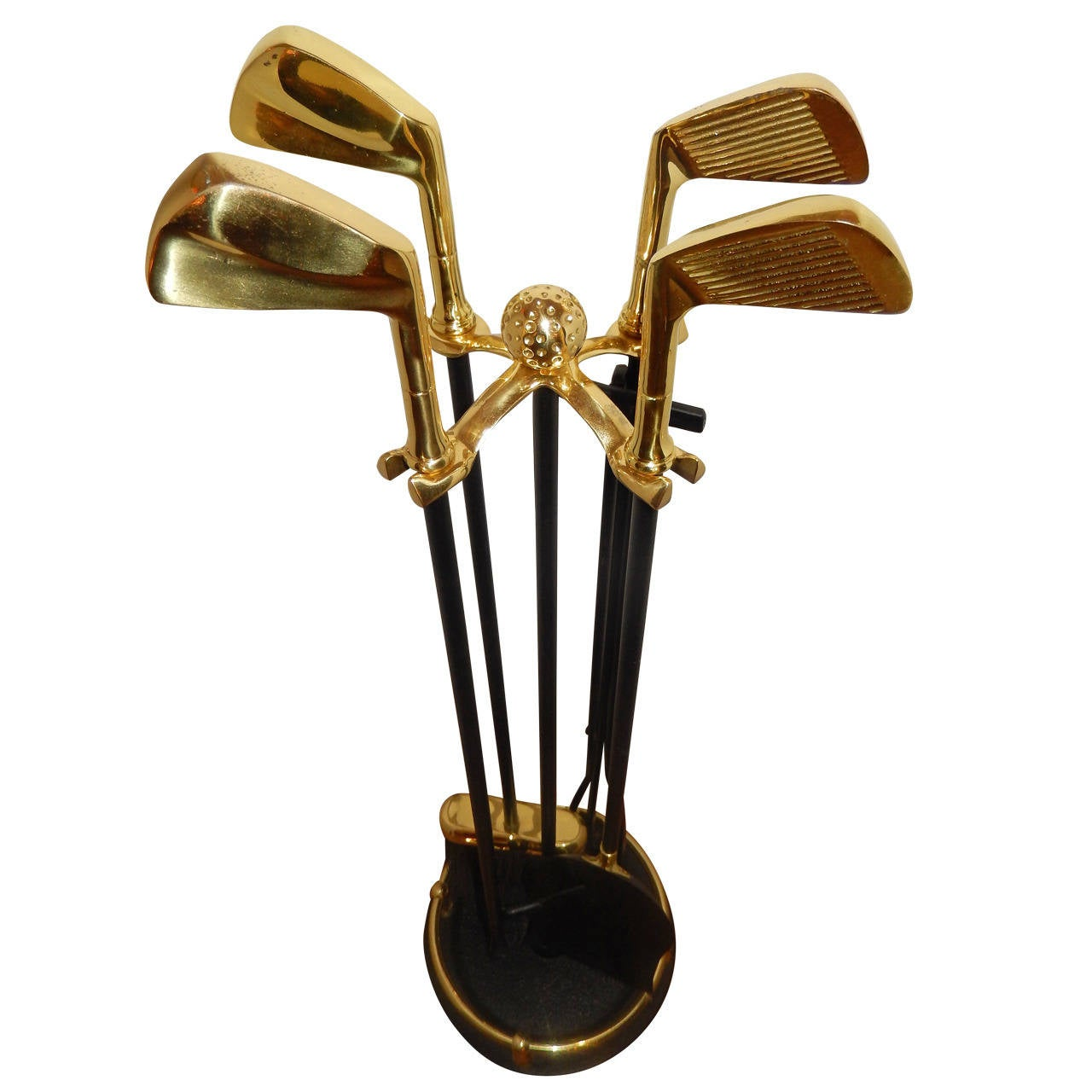 set of artisan golf club themed brass and iron fireplace tools at