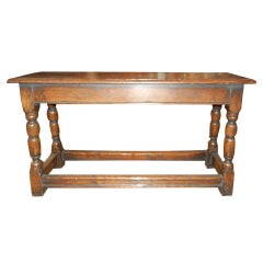 A Late 19thc English Oak Wood Tavern Bench