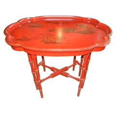 Pair of Oriental  Bamboo Form Tray Tables