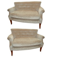 Pair of American Art Deco Love Seats