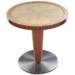 Midcentury Italian Steel and Zebra Wood Pedestal Table