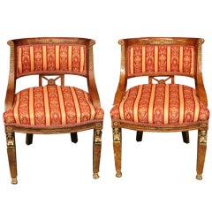 Pair of Antique French Empire Barrel Back Chairs