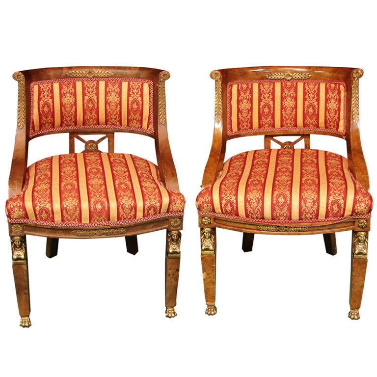 Pair of Antique French Empire Barrel Back Chairs For Sale - Pair Of Antique French Empire Barrel Back Chairs For Sale At 1stdibs