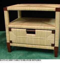 A Donghia Rattan Side Table
