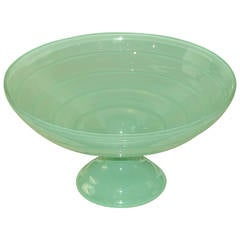 Large Aqua Mid-Century Fluted Glass Bowl