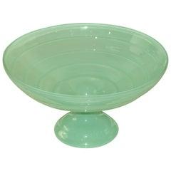 Large Aqua Mid-Century Fluted Glass Bowl