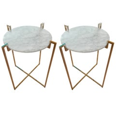 Pair of Nickel and Marble End Tables