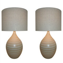 Pair of Hand Crafted Danish Modern Pottery Lamps