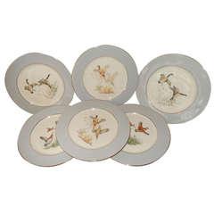 Group of Six Game Bird Copeland Spode Dinner Plates