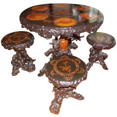 An Elaborate and Rare Antique Root Table & Stool Set