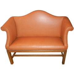 A  English Chippendale Style Camel Back Settee/Bench
