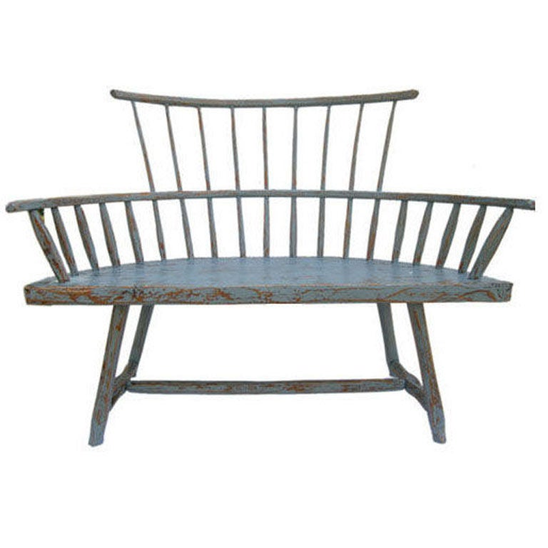 Rare Antique Windsor Style Painted Bench At 1stdibs