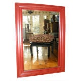Large Red Laquered Wood Framed Mirror