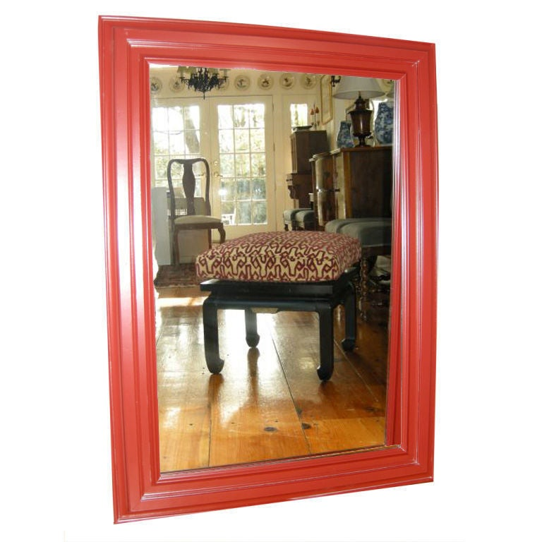 Large red laquered wood framed mirror for sale at 1stdibs for Large framed mirrors for sale