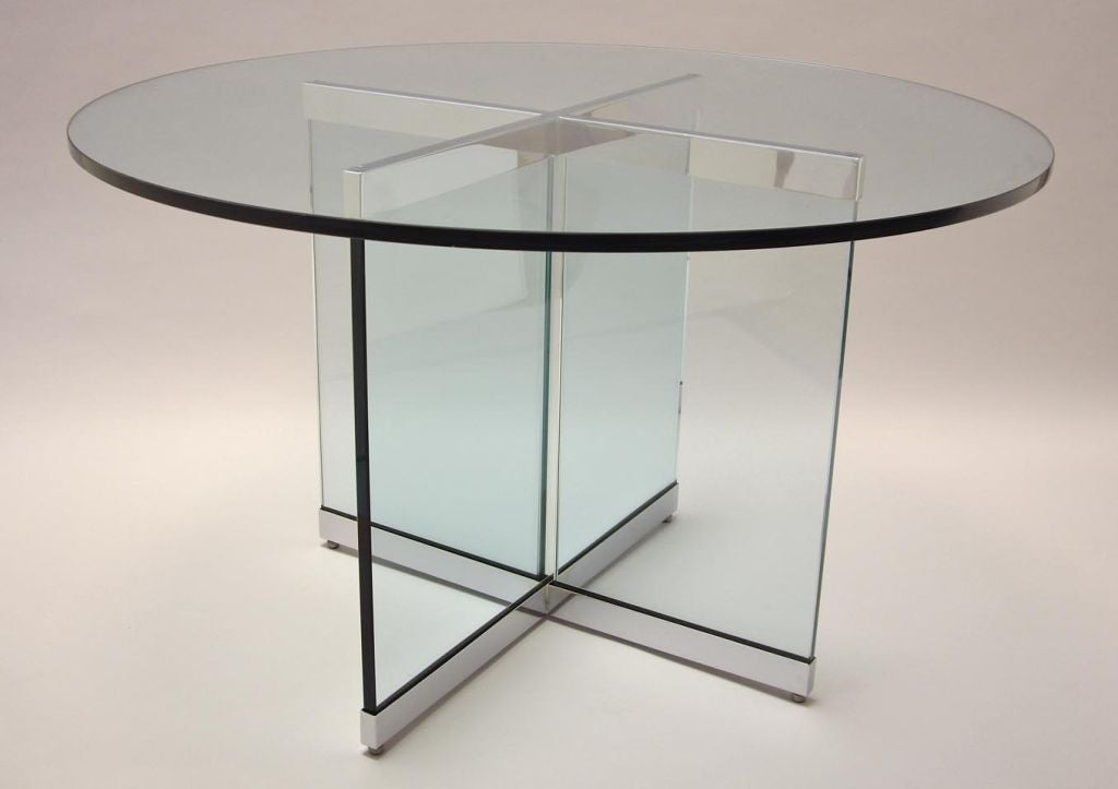 Classic Polished Steel and Glass Circular Dining Table  : 804612844188802 from 1stdibs.com size 1024 x 723 jpeg 39kB