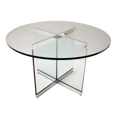 Classic, Polished Steel & Glass Circular Dining Table from Pace.