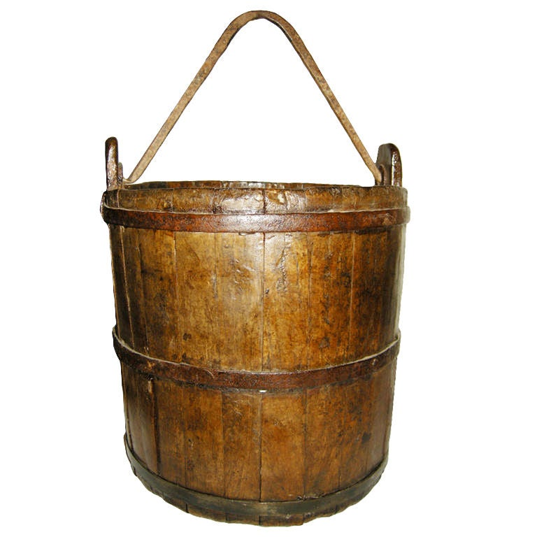 Large antique metal and walnut wood pail at 1stdibs for Old metal buckets