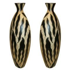 Striking Pair of tall Ceramic Studio Pottery Vases.From Spain.
