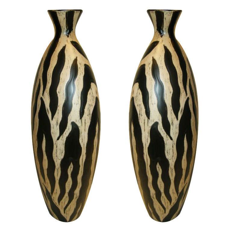 Striking Pair Of Tall Ceramic Studio Pottery Vasesom Spain At