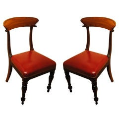 A Magnificent Pair of  Signed Regency Chairs