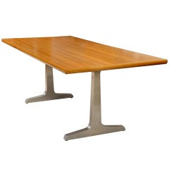 Teak & Steel Dining Table/Desk by American Studio Craft Artist, David N. Ebner