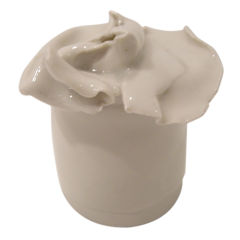 Handcrafted  Floral Sculptured  Ceramic Trinket  or Jam Pot