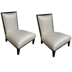 Monumental Pair of Phillippe Stark Style Slipper Chairs