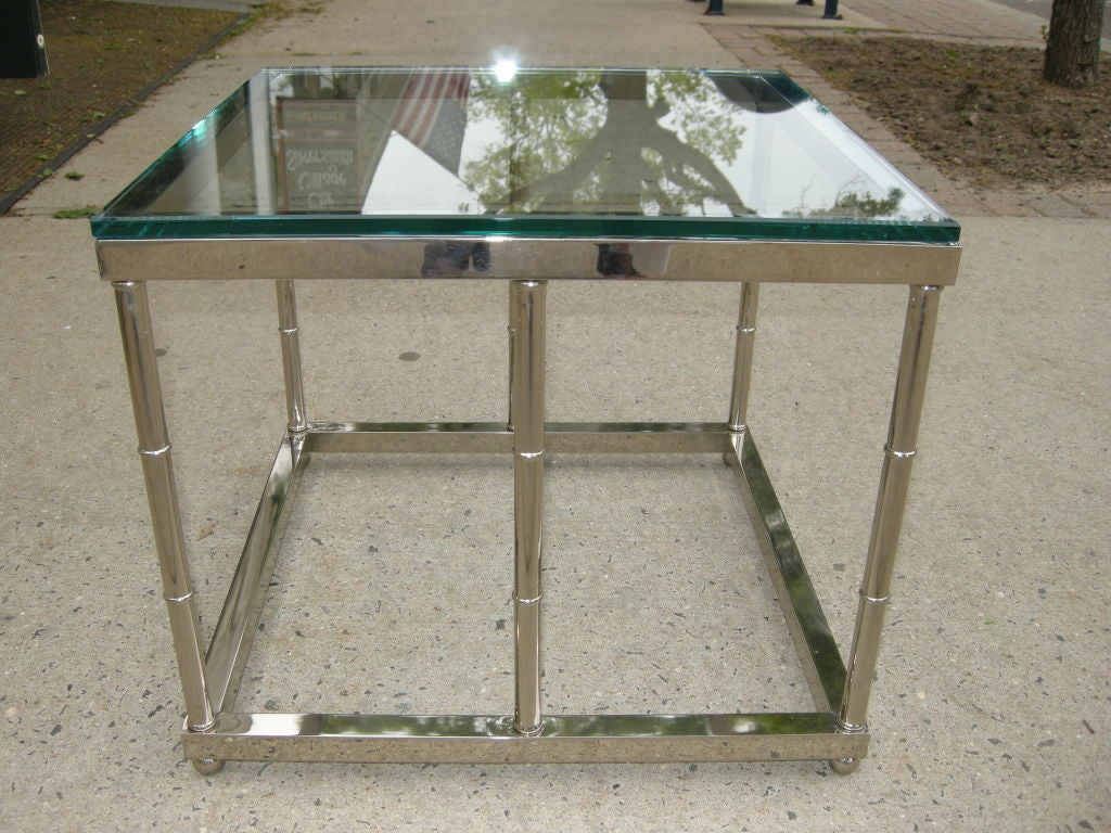 mid century polished nickel end table coffee table for With polished nickel coffee table