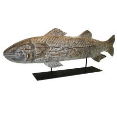 """Primitive,Massive Hand Carved Striped  Bass """"Long Island N.Y."""