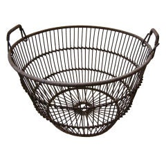 """Antique,Large Clam Shell Iron Basket  """"Long Island N Y'"""