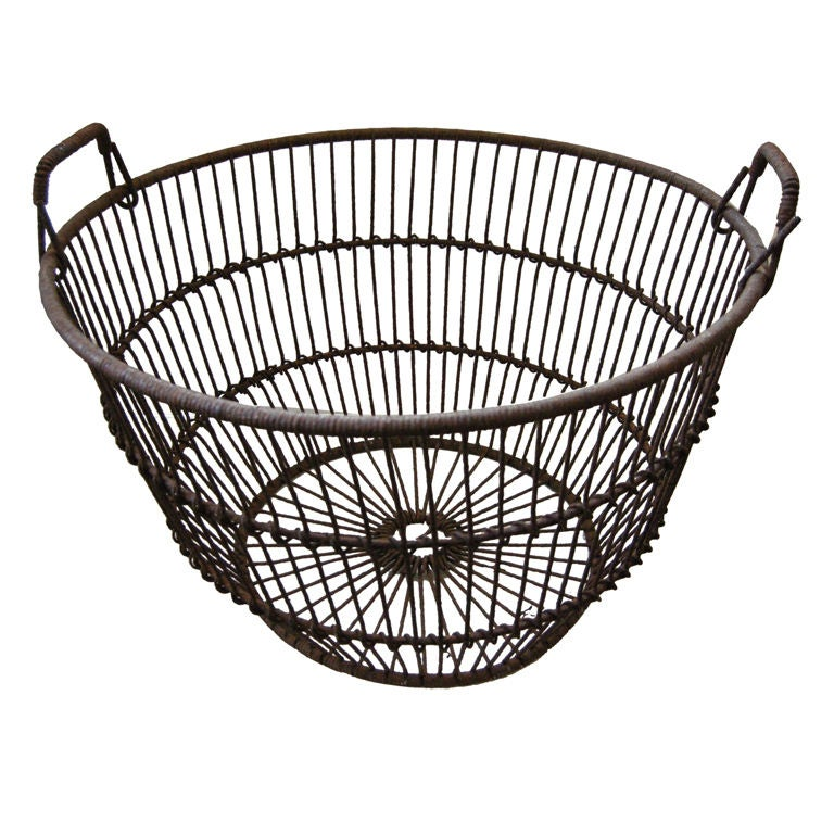 Basket weaving long island : Antique large clam shell iron basket quot long island n y at