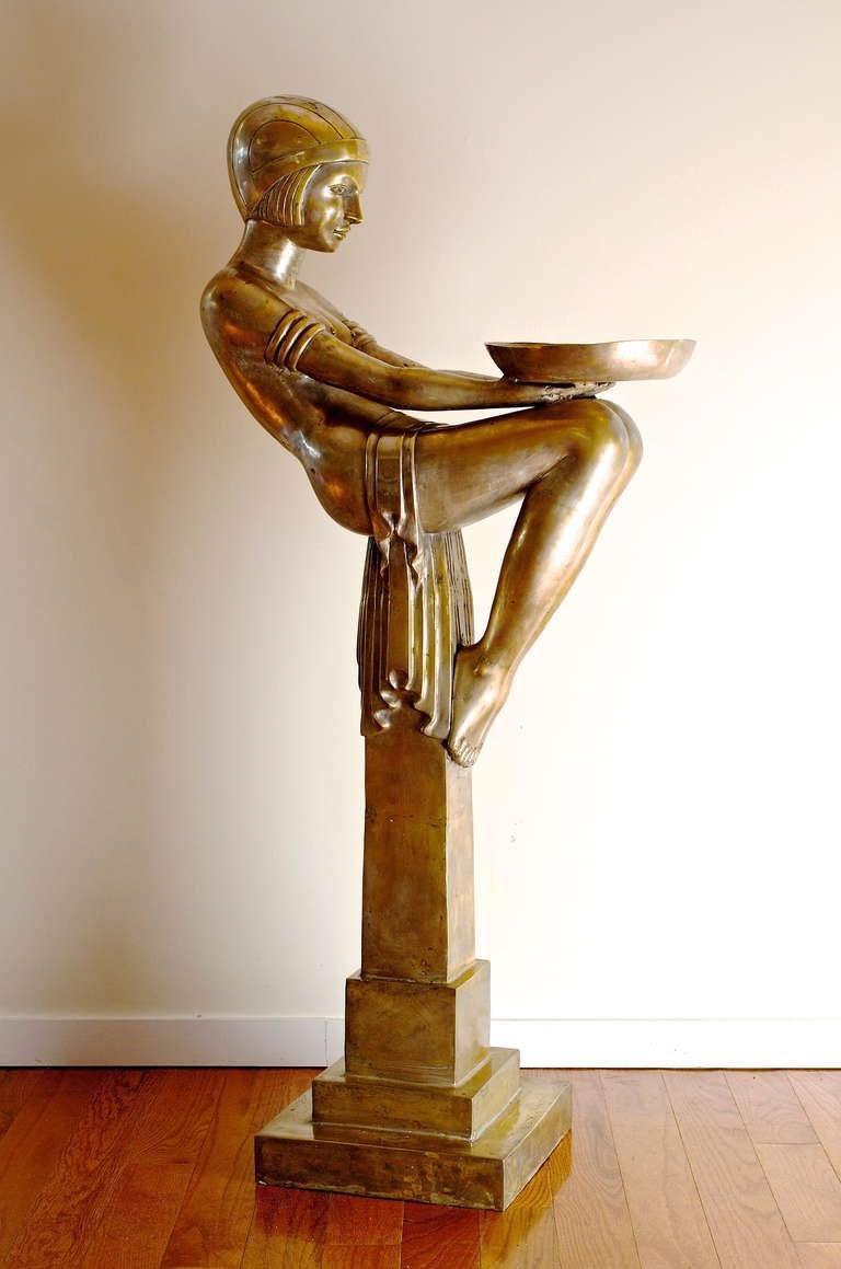 A Rare Art Deco Female Sculptural Figure And Pedestal At