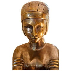 A Rare Art Deco Female Sculptural Figure and Pedestal